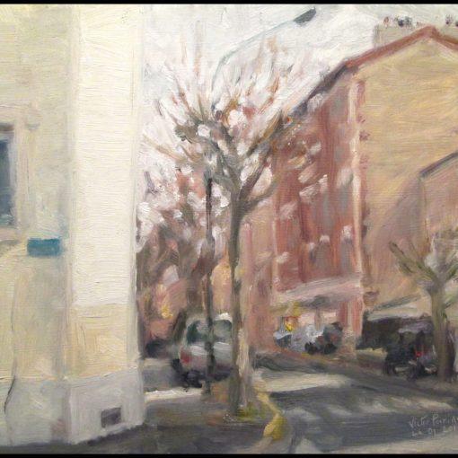 250euros - Rue de Seine à Alfortville, huile sur carton, 26x23cm