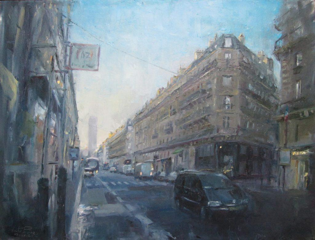Rue de Rennes à St Germains des Prés, huile sur carton entoilé, 65x49cm