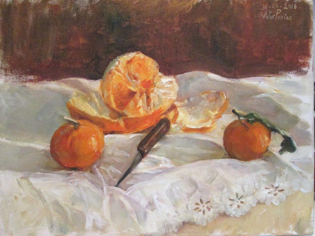 étude d'une orange et deux clémentines avec un couteau sur un tissu.Huile sur carton entoilé, 36,5x28cm
