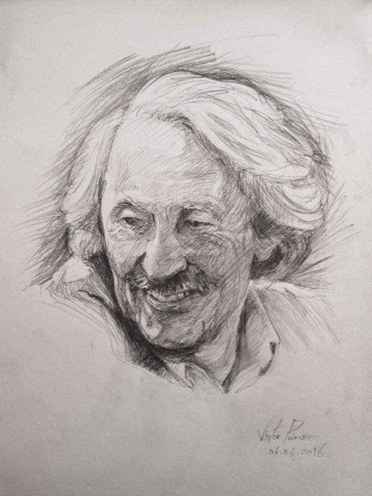 portrait de Jean Rochefort au crayon fusain