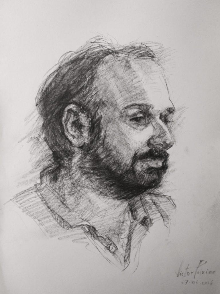 Portrait de mon ami Mathieu Gensel au fusain