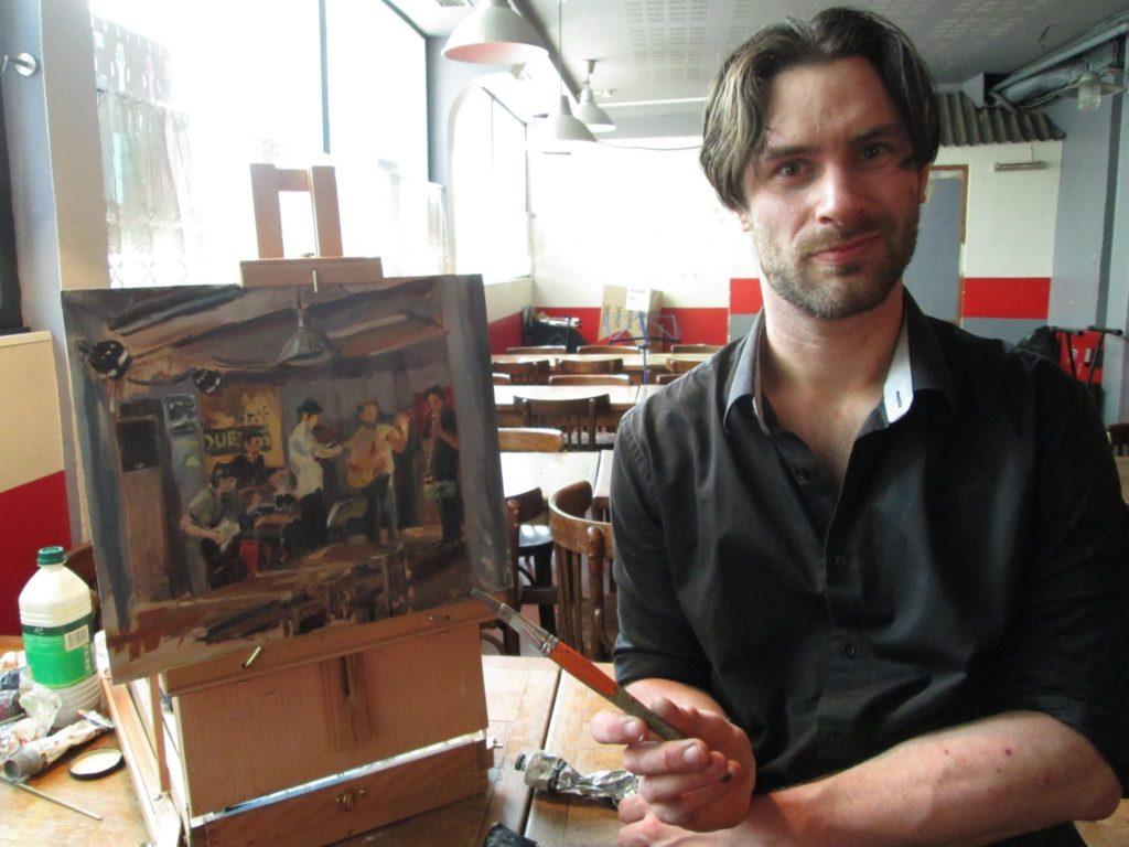 """peinture en live du concert des """"Désorientés"""" dans le bar restaurant """"Aux Petits Joueurs"""""""