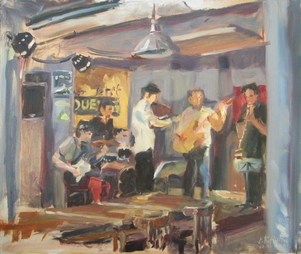 """peinture en live du concert des """"Désorientés"""" dans le bar restaurant """"Aux Petits Joueurs"""" Huile sur panneau, 44 x 37,1cm"""