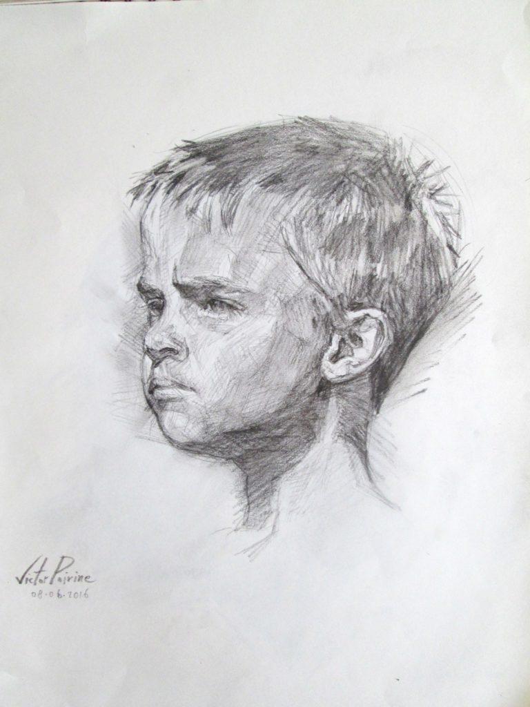 portrait au crayon fusain sur A3
