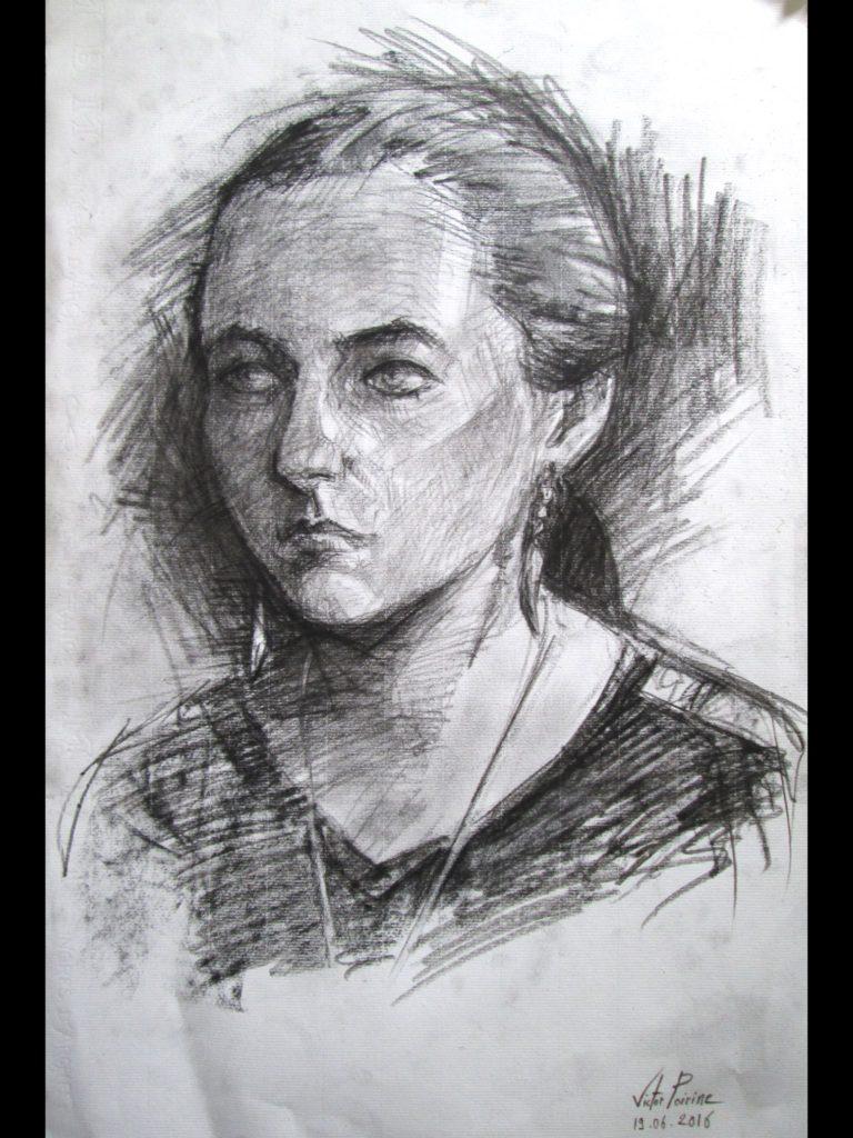 Portrait de mon amie Irène au fusain sur papier Ingres A3en possession du model