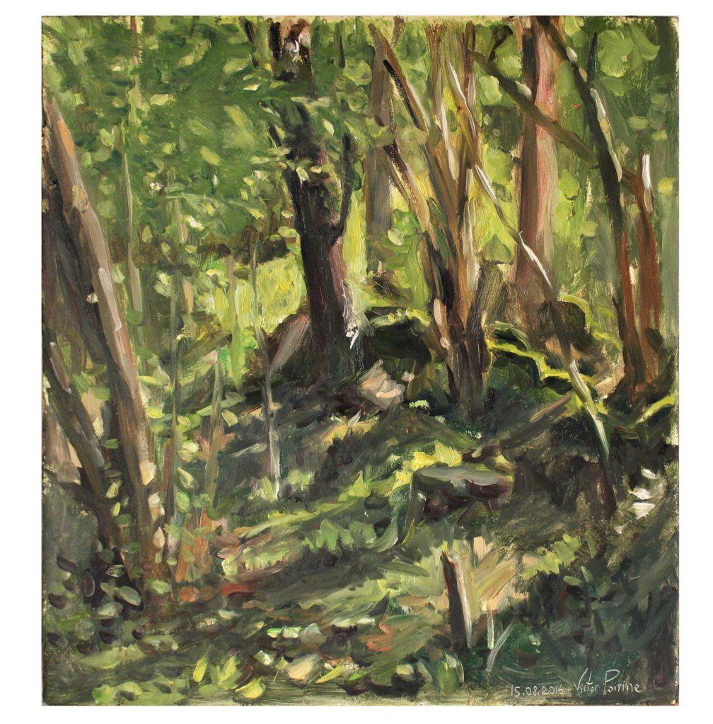 peinture à l'huile sur panneau dans la forêt Vosgienne, 30x32,5 cm