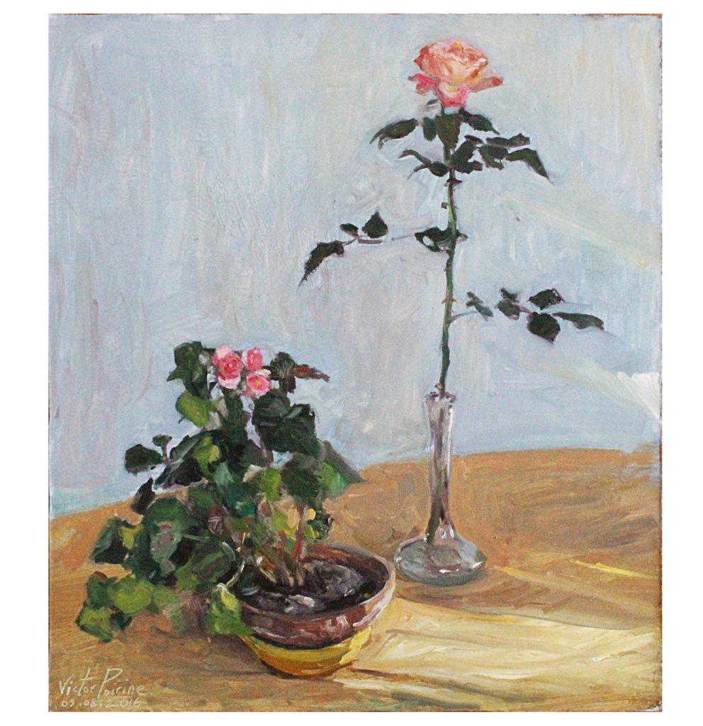 Peinture à l'huile sur panneau d'un pot de fleur et d'un vase avec une rose sur une table30,5x34,7cmvendue