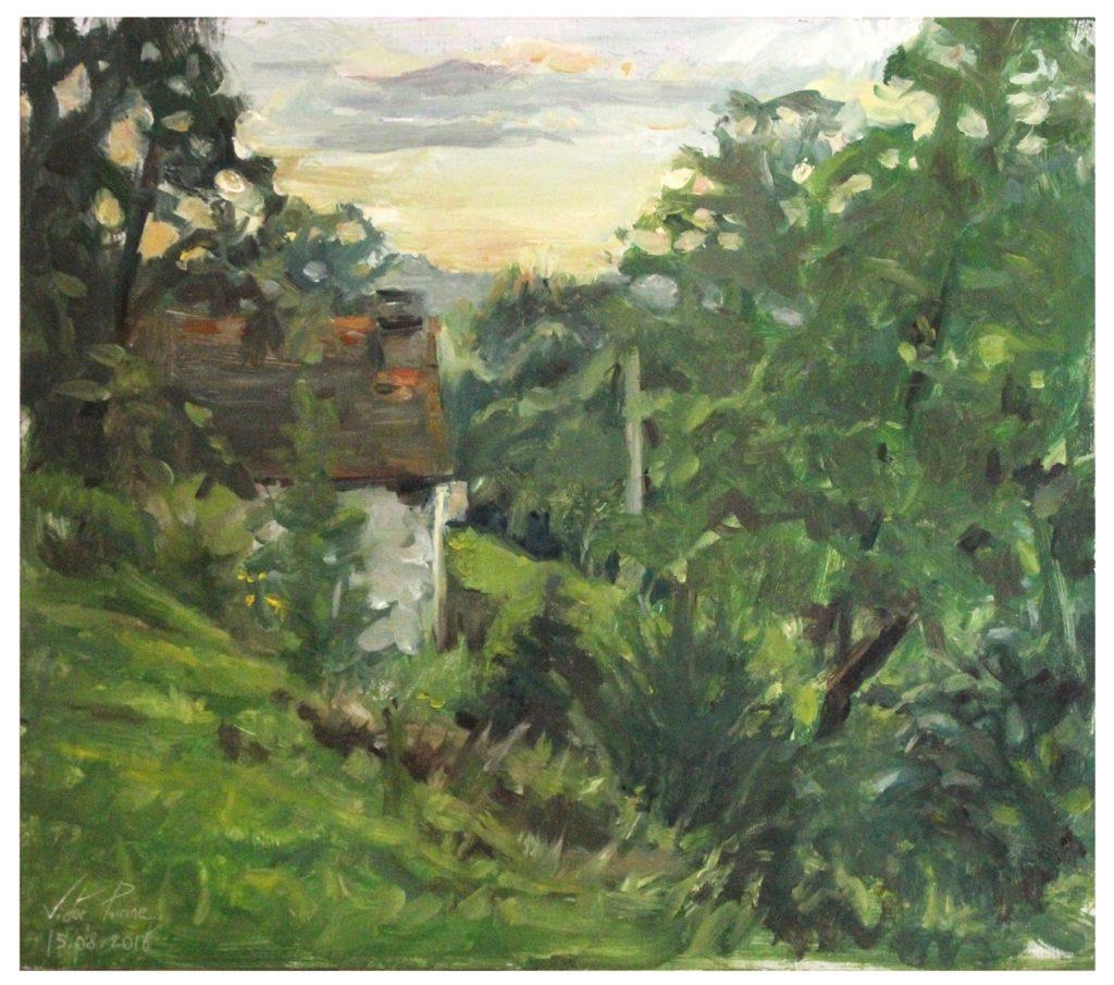 peinture à l'huile sur panneau dans les Vosges à la Hardalle 28x25cmvendu