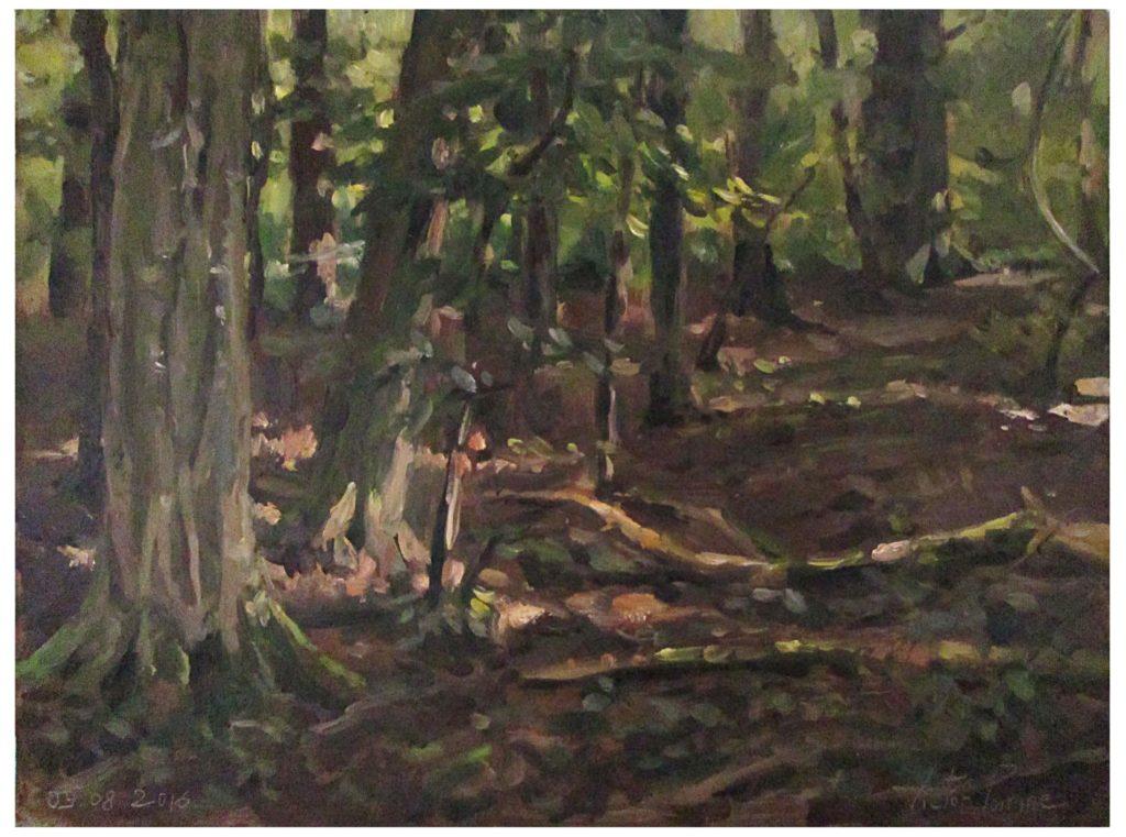 Peinture à l'huile sur panneau dans les bois, près du chemin du vieux loup partant de Flainvalle30,7x22,9cm
