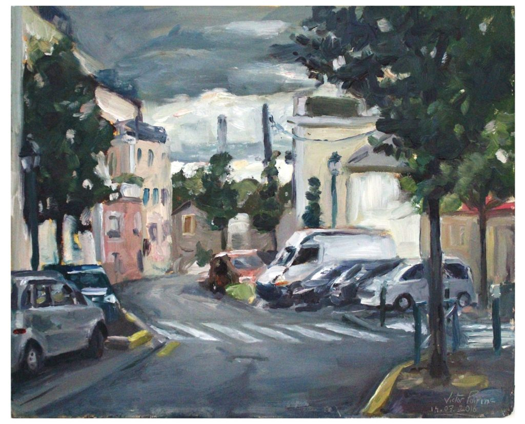 Peinture à l'huile sur panneau dans la rue Simone de Beauvoir à Alfortville37x30cm