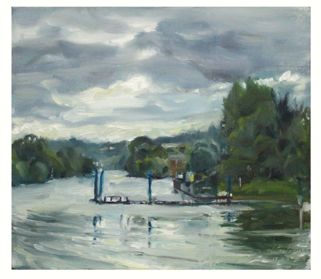 peinture en plein-air au Pecq cette fois, le long de la Seinehuile sur panneau, 27,8 x 42,8 cmvendue