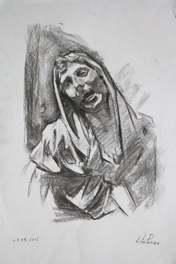 dessin au fusain, mère éplorée