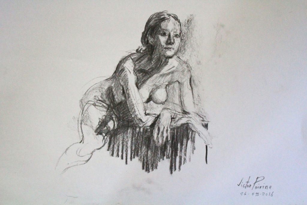 dessin de nu au fusain