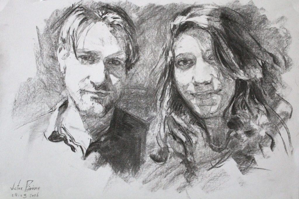 portraits au fusain, expérimentations de techniques