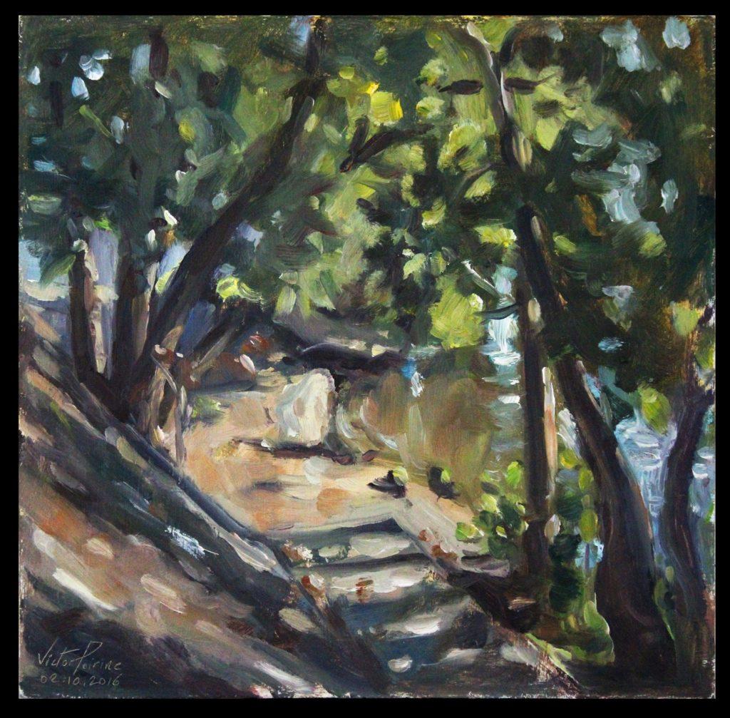 huile sur panneau, 27x27,5 cmpeinture faisant partie d'une série que je réalise au même endroit en bord de Seine à Alfortville