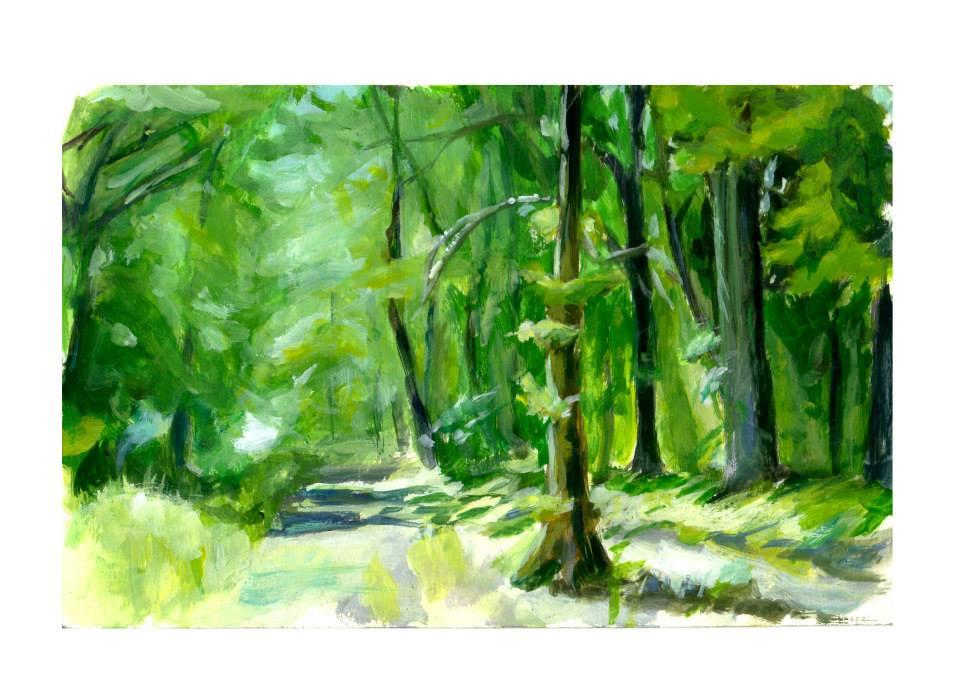 Chemin en forêt sous le soleil d'été.acrylique format A4