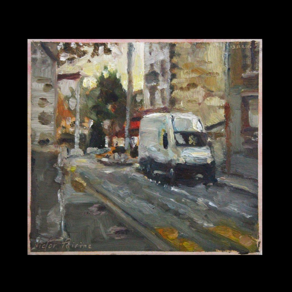 Rue près de l'église et camionnette blanche à Alfortvillehuile sur carton18x16,7cm (en comptant la bordure)