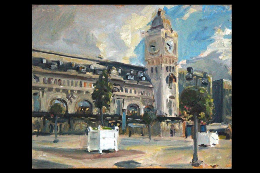 Paris gare de Lyon, huile sur panneau, 30,5x25cm