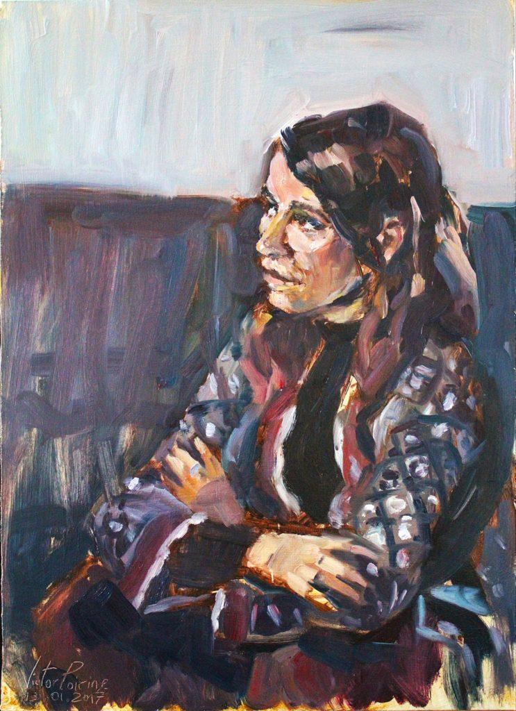 portrait de l'artiste et amie Adèle Tilouine, Huile sur panneau, 40x55,5cm