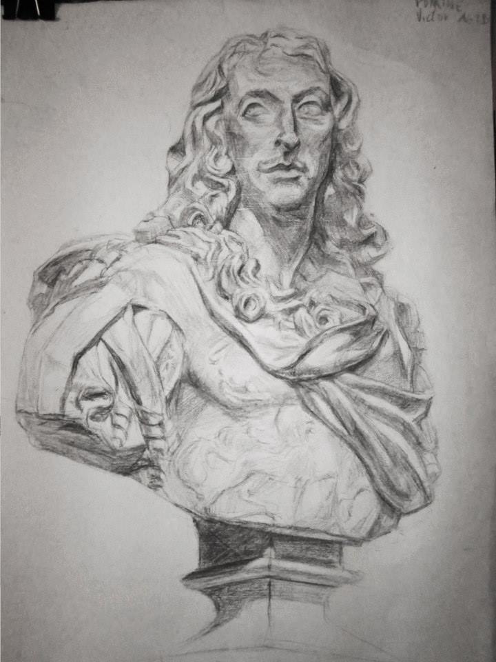 dessin de plâtre au fusain (Le Grand Condé)