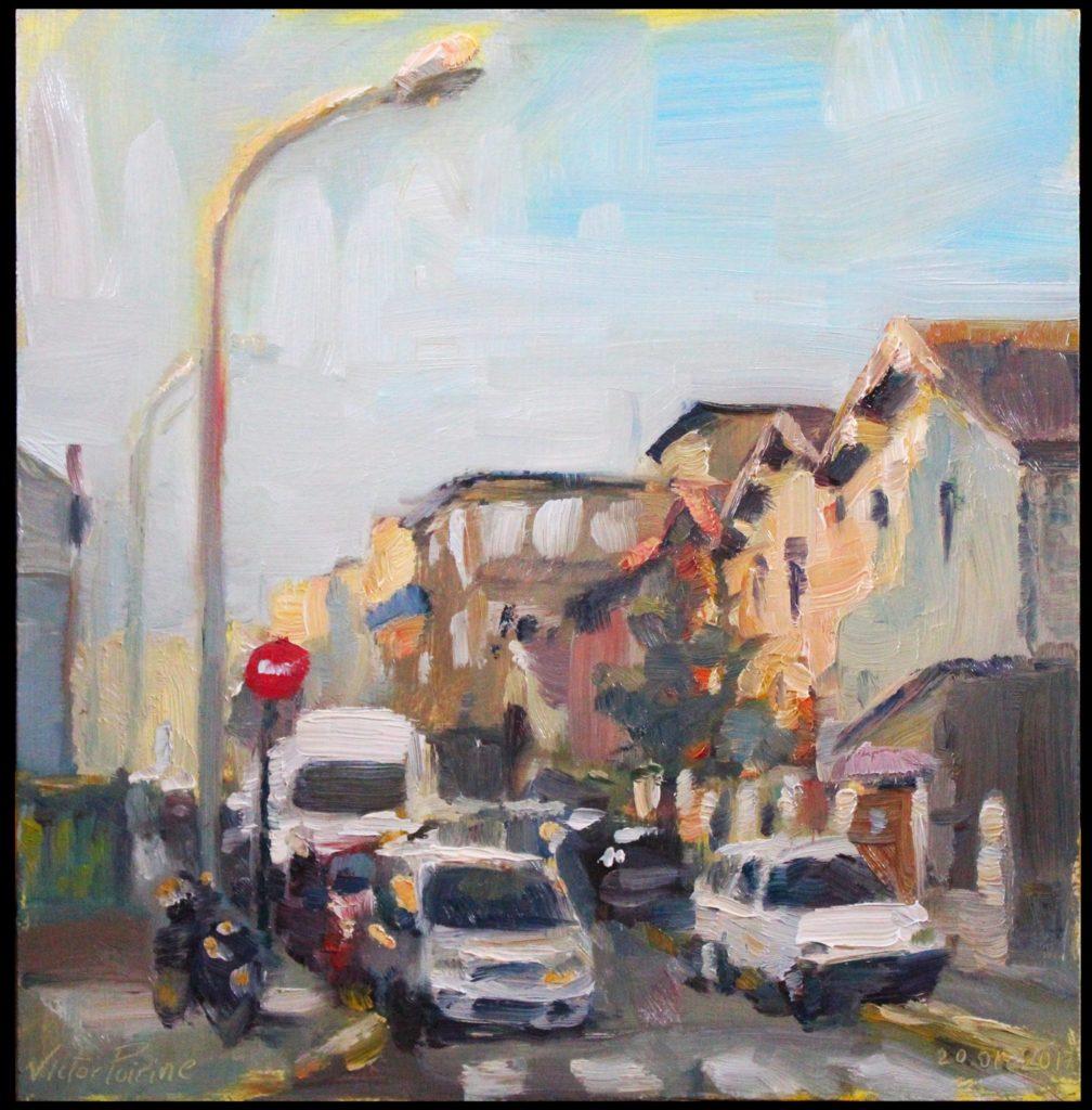 peinture en extérieur dans le froid dans la rue Edouard Vaillant à Alfortville. Huile sur panneau, 30 x 28,5cm