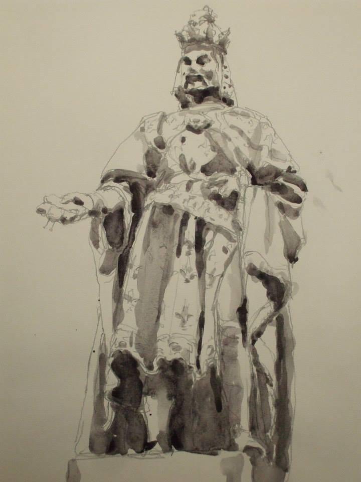 dessin et lavis se jus de gouache d\\\'après la statue de Charles IV Statue dans la ville de Prague