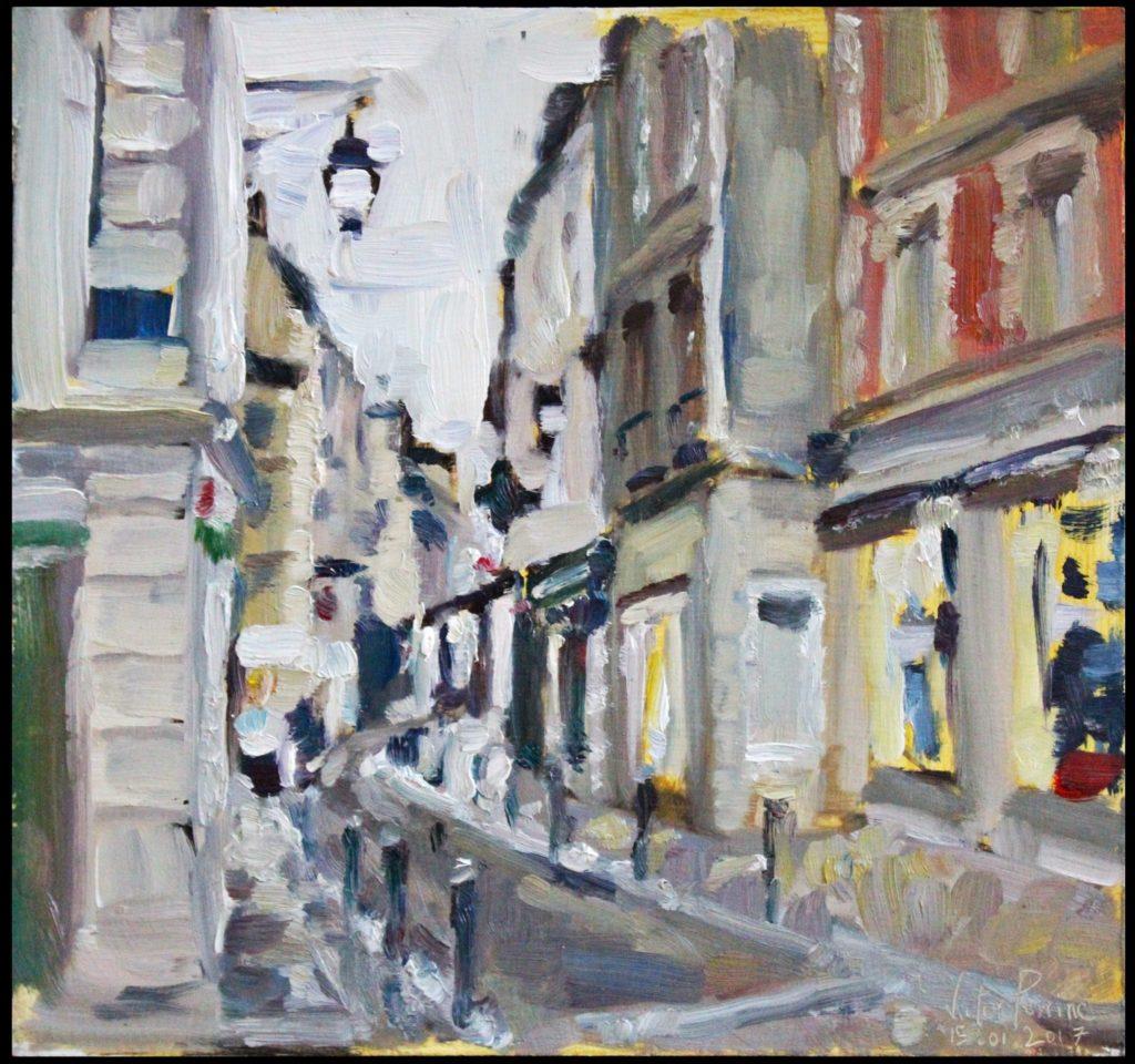 peinture à St Germain en Laye avec un ami peintre huile sur panneau, 30x28,5cm