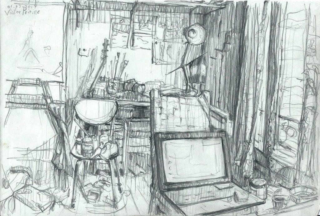 croquis de mon bureau/ma chambre en bordel