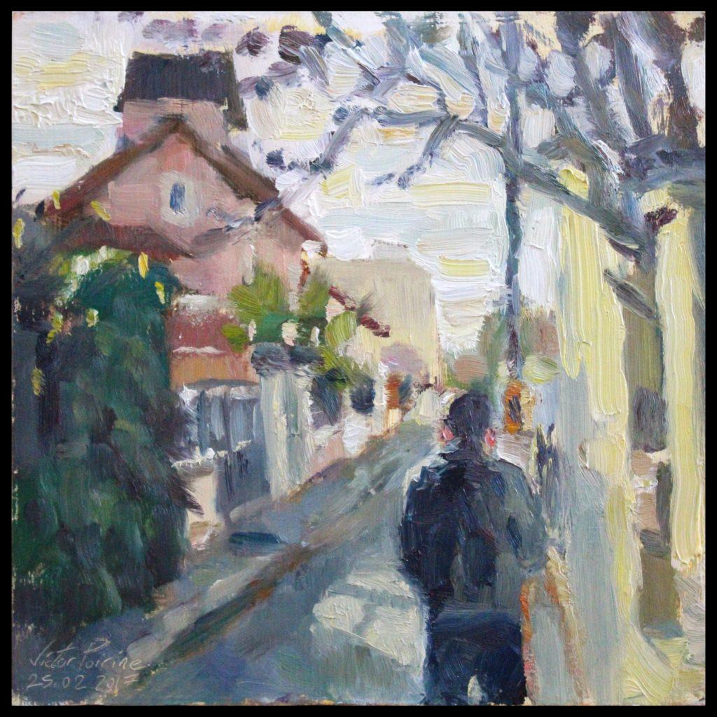 Peinture dans Alfortville avec un ami peintrehuile sur panneau, 28,5x28,5 cm