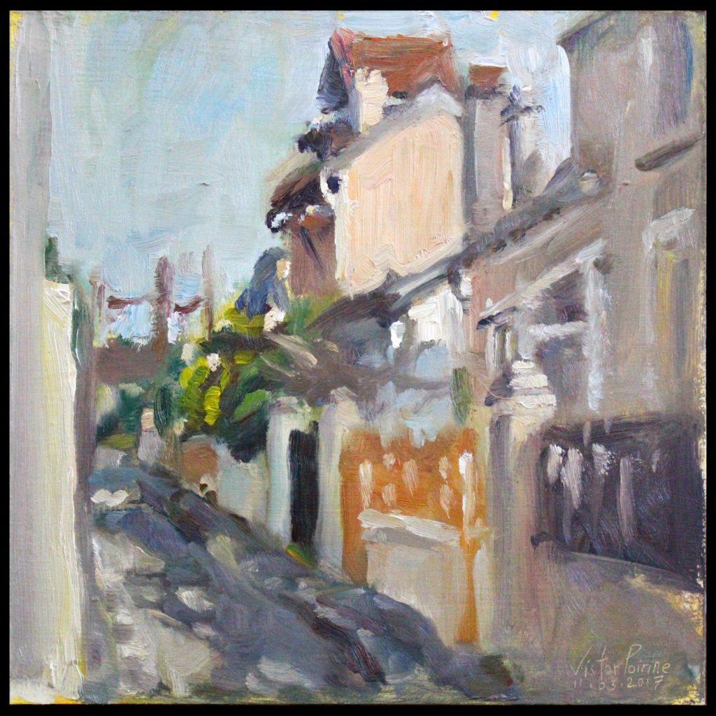 peinture dans la rue des prévoyants avec les rayons de soleil du printemps à Alfortville.Huile sur panneau de 28,5x28,5 cm