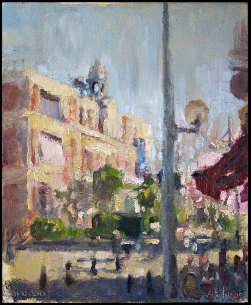 Peinture de la mairie d'Alfortville et de la vie autour animée par le soleil du printemps huile sur panneau, 35x28,5 cm