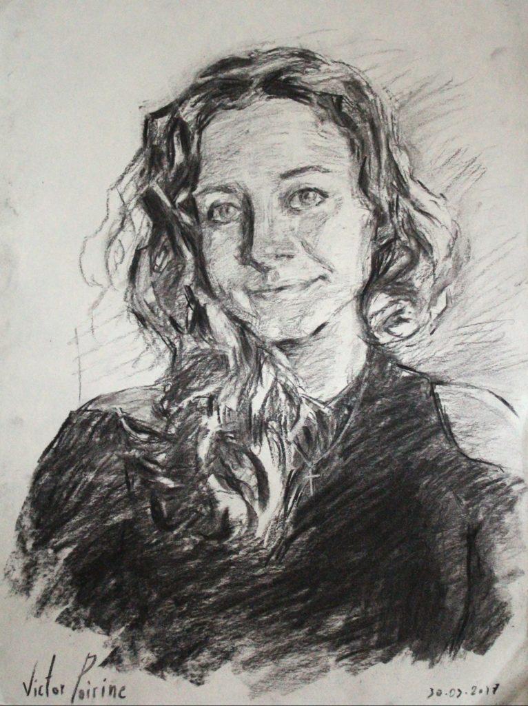 un portrait cadeau au fusain
