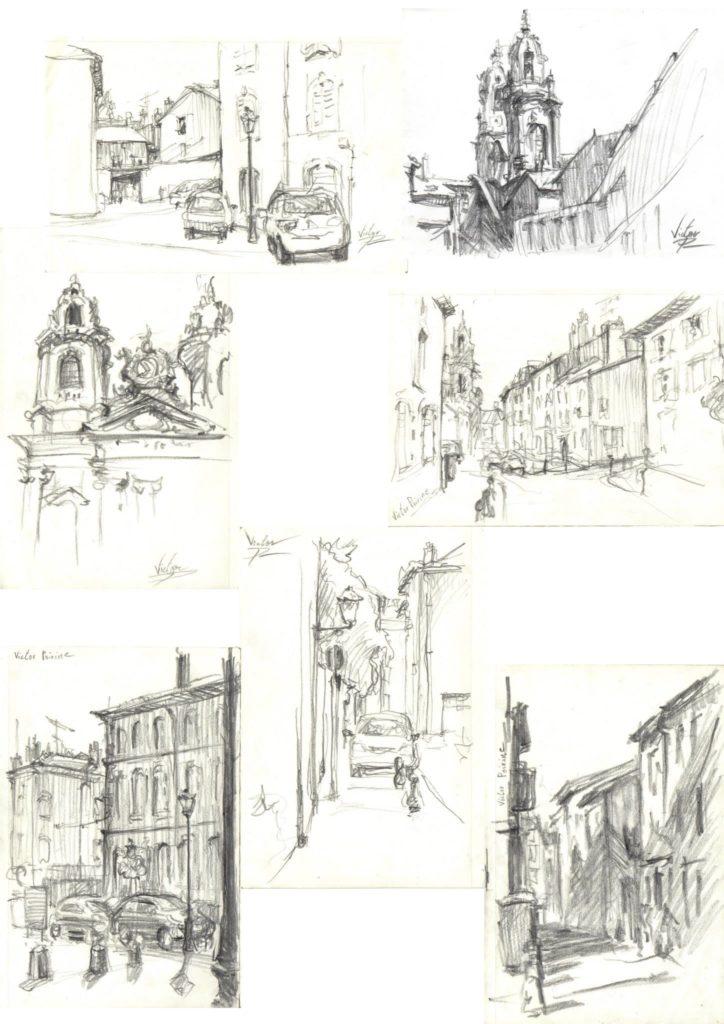 croquis en vieille ville, Lunéville