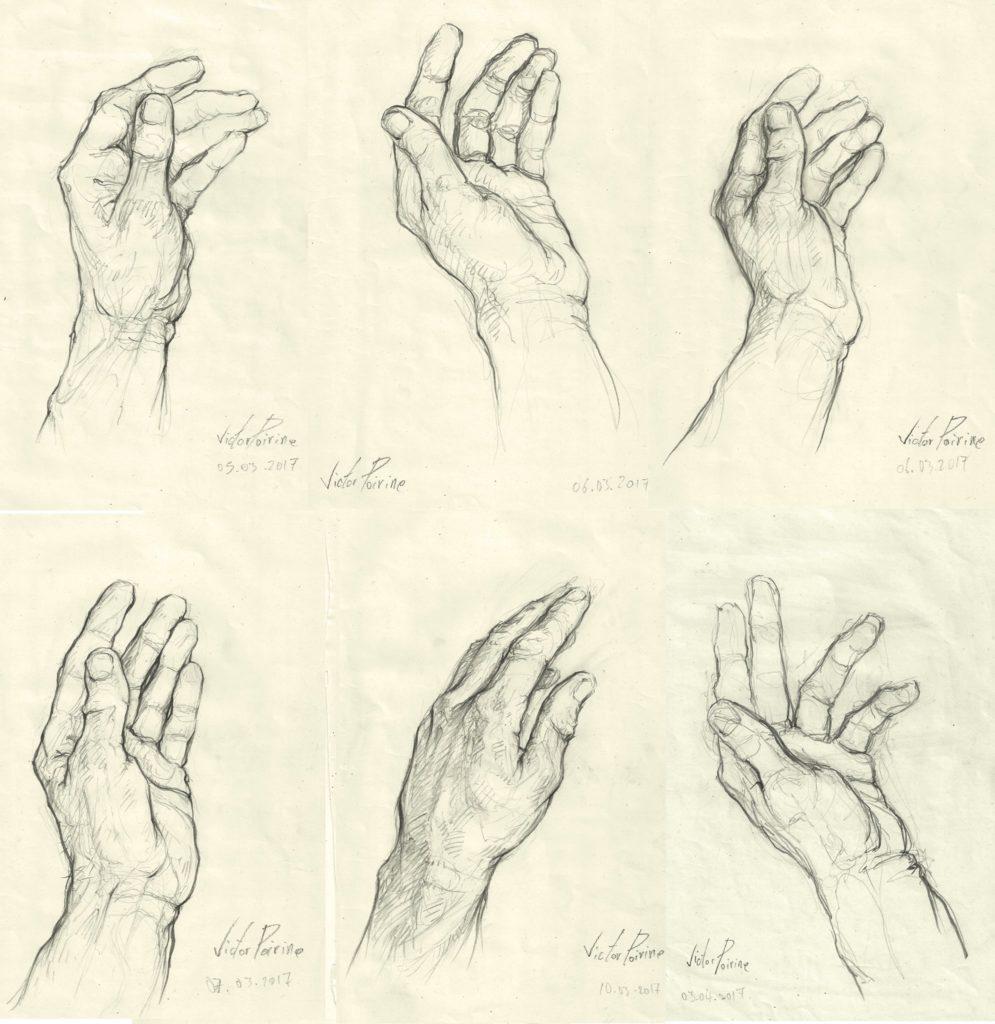 études de ma main gauche dans un carnet