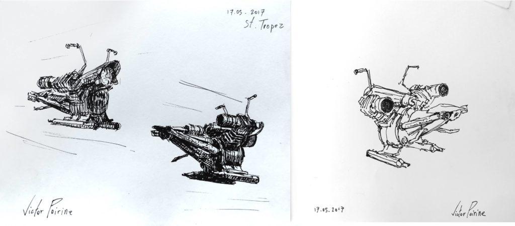 croquis du rebot de l\'artiste Vincent Duchêne durant notre expo à St Tropez en face de la place des Lices