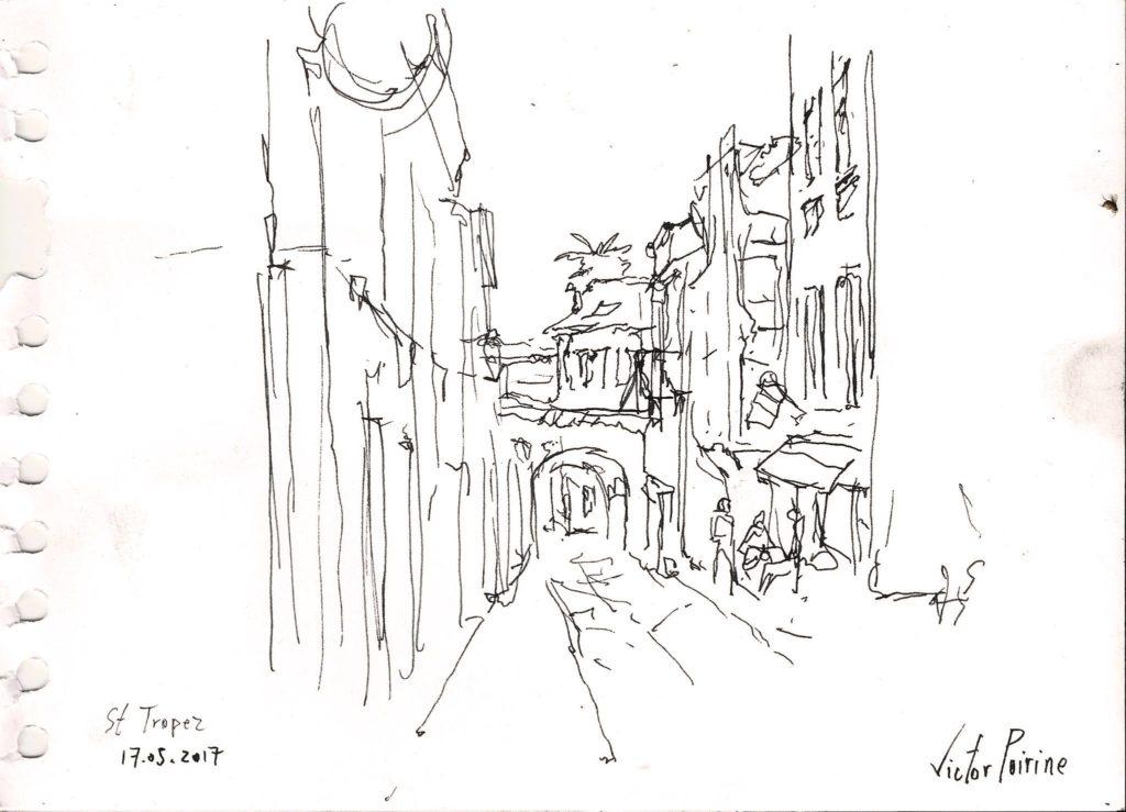 dernière petite rue croquée à l\'encre dan le vieux St Tropezvendu