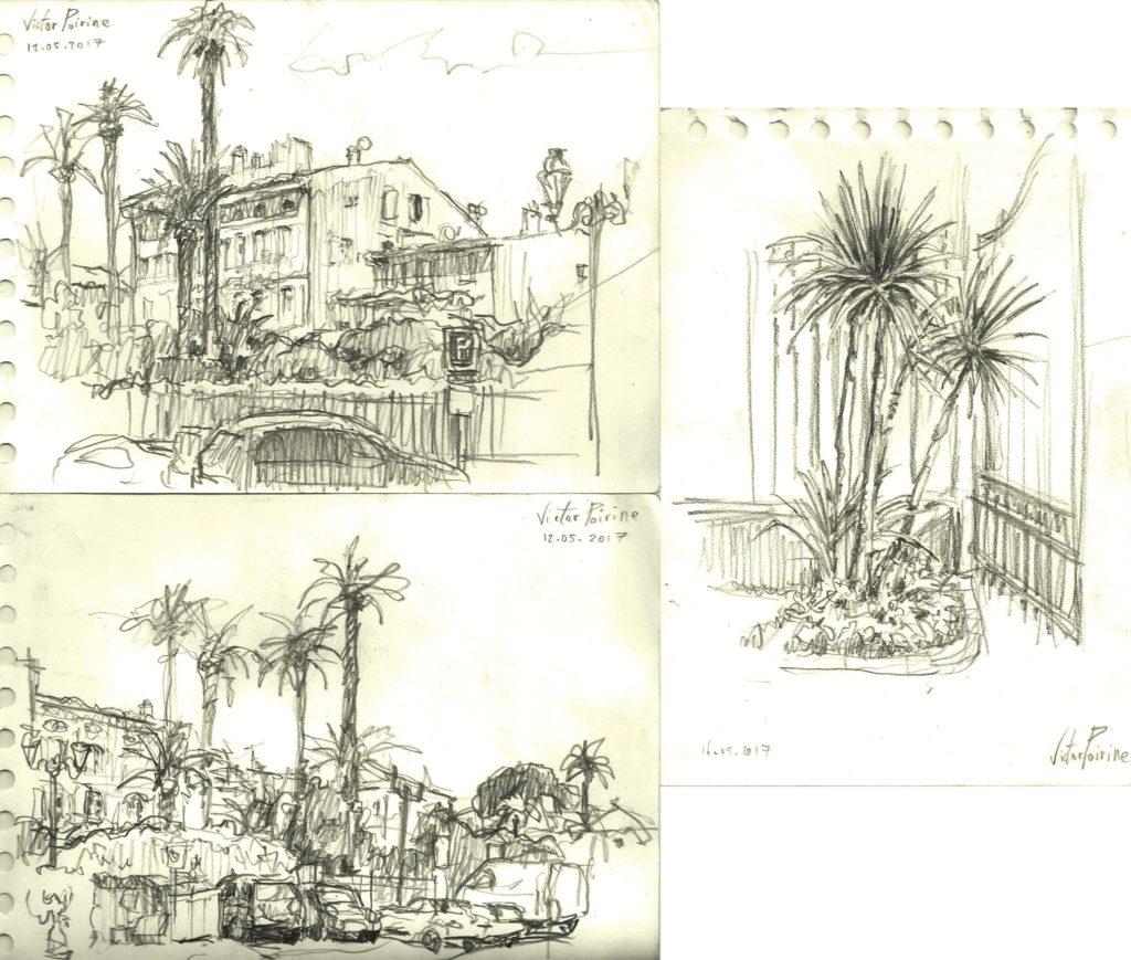 croquis dans St Tropez : maison Dior et ... des arbres devant la salle d\'expo