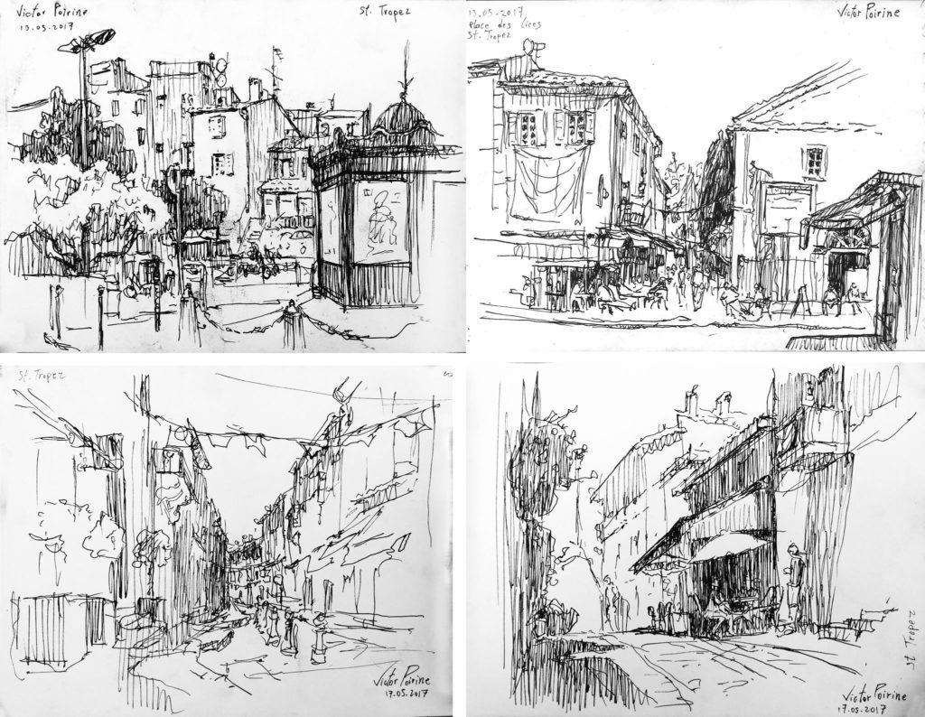 quelques croquis à l\'encre dans St Tropezà part celui en haut à droite, ces 3 croquis ont été offerts à l\'organisateur de l\'exposition