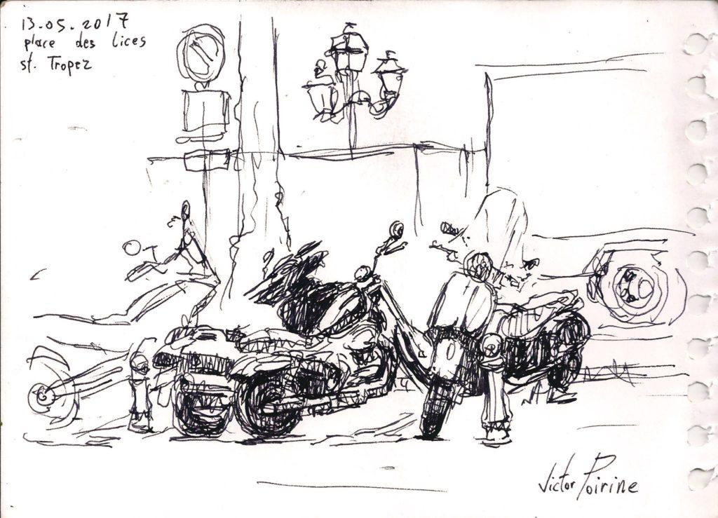 Motos garée après le défilé des Harley à St TropezEncre