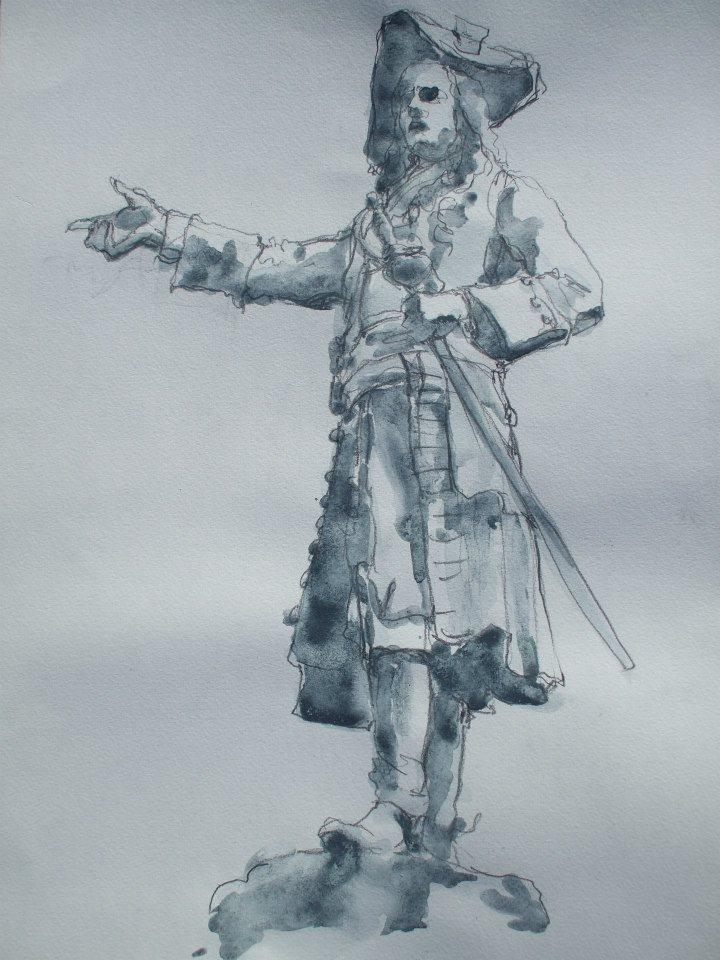 croquis crayon et lavis de gouache d\'apès une statue du comte d\'Angus