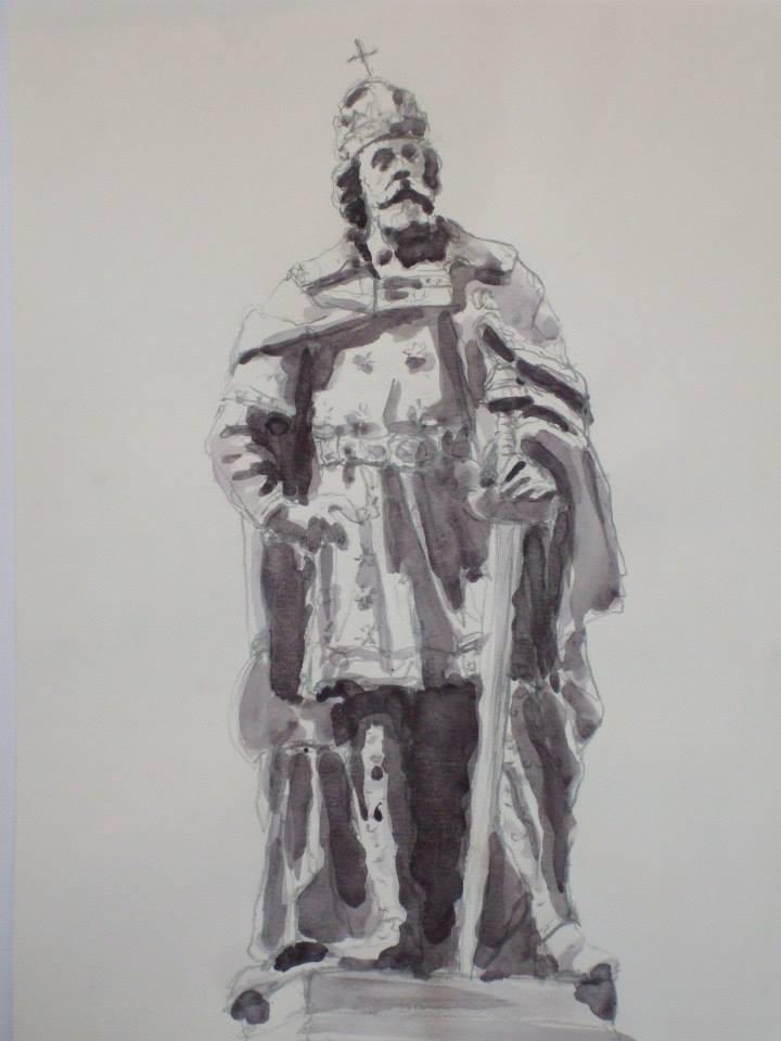 croquis crayon et jus de gouache d\'après la statue de Ladislas 1er de Hongries