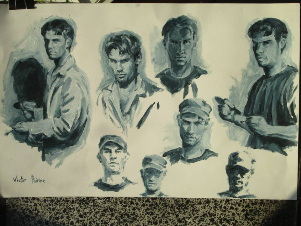 Autoportraits monochromesacrylique sur papier cartonné50x32,3cm