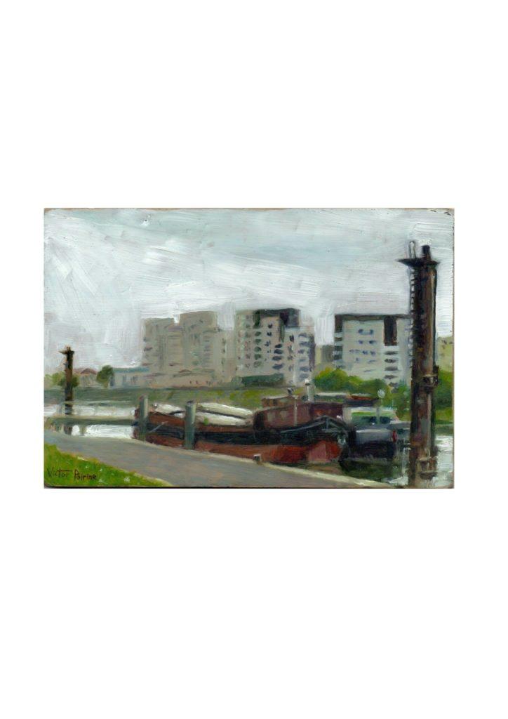 étude à l'huile sur carton d'un bateau en bord de Seine à Alfortville17x11,5cm