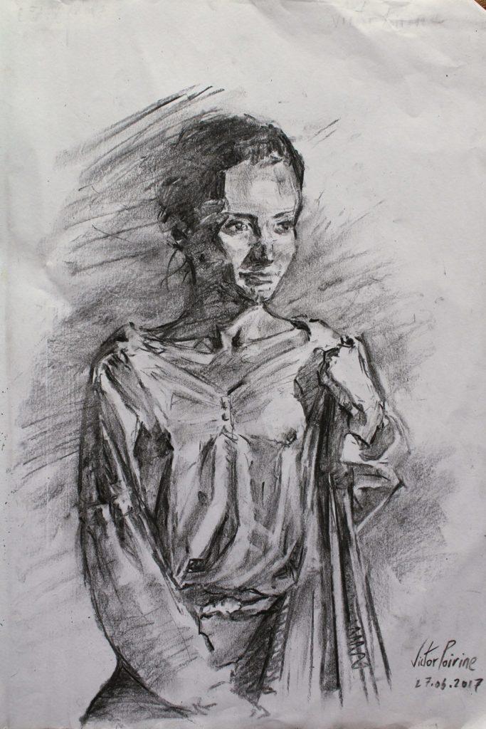 dessin d\'une femme au fusain