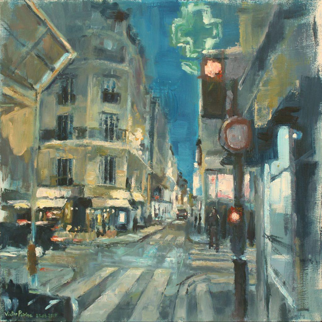 Rue de nuit Huile sur panneau75,3x75,3 cm