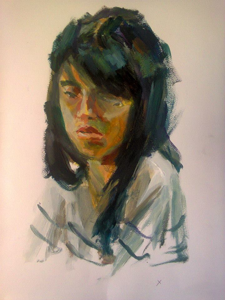 portrait  de Hu Yu à l'acrylique sur papier réalisé en 25 minutes 32,3x49,8cm