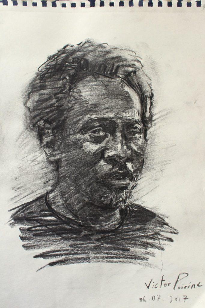 portrait au fusain de mon ami Richard