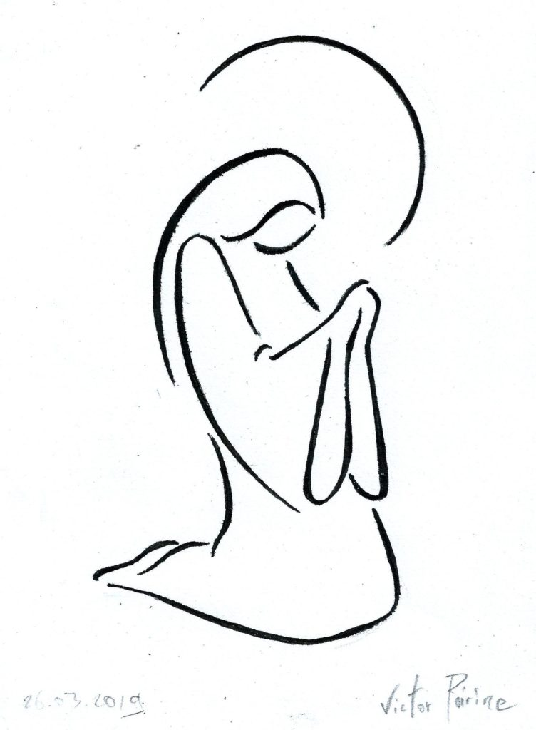 dessin stylisé pour la paroisse en l'honneur du moi de Marie