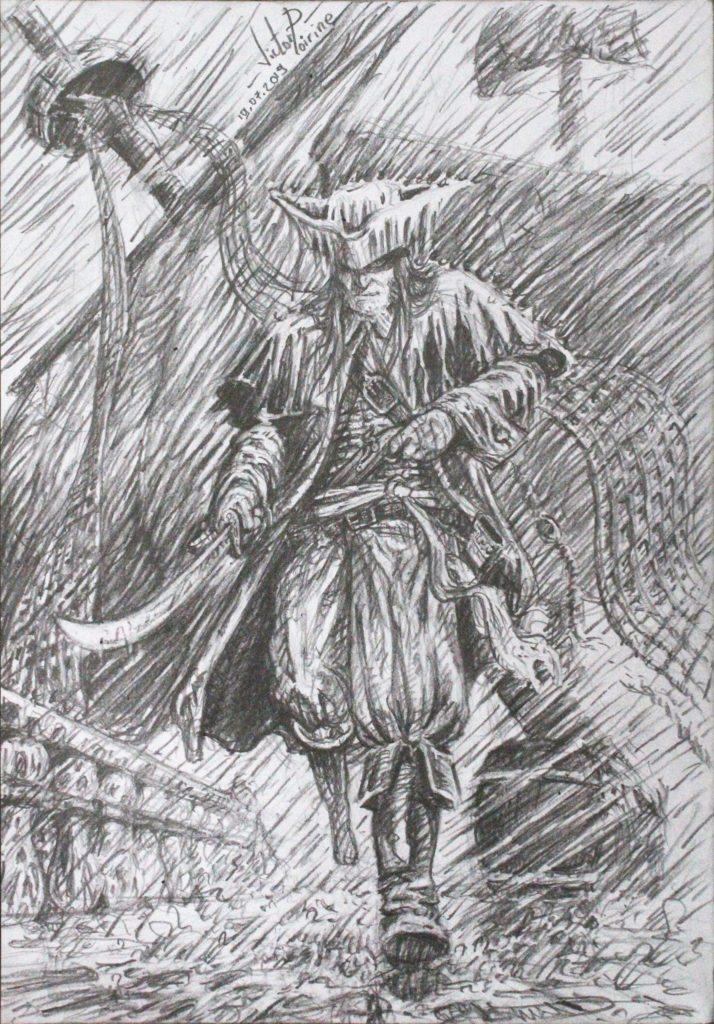 """Non disponible car relié à un carnet. Long John Silver dans mon carnet de dessin dédié aux personnages. Au début j\'avais une image de pirate dans la tête. Puis on m\'a dit \""""ça ressemble à ce que fait Mathieu Lauffray\""""... Donc après avoir regardé son magnifique travail j\'ai complètement assumé de m\'inspirer du Long John de Lauffray.Mine de plomb. 21x29,7cm"""