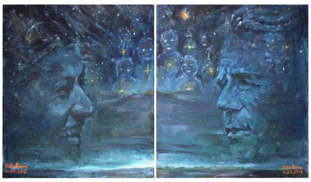 portraits vendus des deux principaux organisateurs de la 4L Trophy réalisés séparément car ajouté après décision d\'une modification de l\'affiche. Ils ont été ajoutés à la suite par ordinateur à l\'affiche finale du film essentiel.huiles sur panneaux entoilés de 28x25cm chacun.